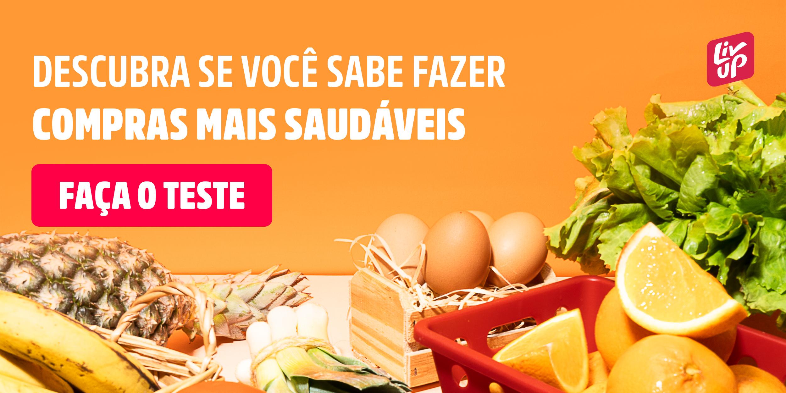 banner de um quiz sobre alimentação saudável com alimentos de fundo