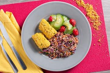 Filé de pintado empanado + Mix de quinoa com vegetais + Abobrinha com tomate