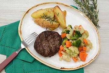 Hambúrguer de fraldinha + Batata rústica com alecrim + Mix de legumes no vapor
