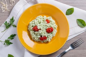 Risoto de pupunha com tomate assado e ervas